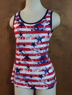 Tie Dyed Stars & Stripes Medium Patriotic Fitted Tank Womans Tank Top. Made In America. Flag - Fourth Of July - Summer by CreatedToSew on Etsy https://www.etsy.com/listing/530759924/tie-dyed-stars-stripes-medium-patriotic