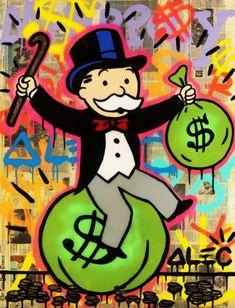Alec monopolio Banksy pintura al óleo sobre lienzo arte urbano Decoración de Pared Bolsa De Dinero