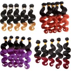 "New 100g/Bundle Ombre Human hair extension 10""-30"" Body wave Brazilian hair Weft #wigiss #HairExtension"