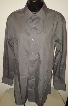 George Men's Gray Button Down Shirt Size S Chest 34/36 Sleeve 32/33  #George
