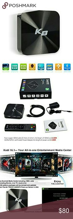 Android TV Box w/Kodi 16.0 & Ares bld Fully Loaded NWT Android TV Box K8 Amlogic S812 Quad Core CPU 2GB RAM 8GB ROM w/Kodi 16.0 & Ares Build Fully Loaded Stunning 4K DLNA Streaming Media Smart TV Tuner Player w/cables & Remote experience the new advanced way to watch movies,sports,TV shows etc for free No cable bills or monthly fees w/HD media streaming Android Lollipop 4.4OS box install apps form Google Play,skype play games,access social media pages all from your tv Easy 5min Install Just…