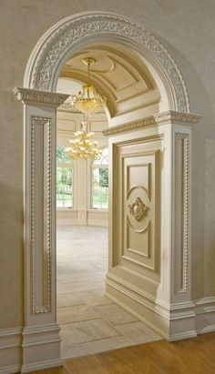 """only looking a the inside of the archway-not the outside casing/trim. choice 2 for how the panels are done on the walls of the interior of archway. Need to choose an appliqué for the center of the design. No light fixture but the keystone """"track"""" there. Arch Doorway, Doorway Ideas, Entrance Ideas, Entryway Ideas, Villa Plan, Plafond Design, Home Modern, Modern Interior, Architectural Elements"""