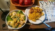 Dinner: homemade salad, corn with flax seed, grilled plantains