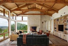 wood ceiling,s stone and plaster walls, stained wood, simple finishes