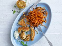 Herby Chicken Nuggets with Spiralized Sweet Potato Curls
