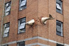 This 11 foot (3.3m) long sculpture made of hand forged and welded bronze is in (not in the usual sense!) the South Park Building which is at 901 SW Salmon St, Portland, OR 97205 #Sculpture #Fish #Portland