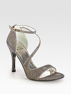 Stuart Weitzman - Vixen Glitter Mesh Strappy Sandals