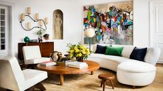 A George Condo painting makes a splash in the Stockholm flat of Giovanna Battaglia-Engelbert (Fashion Editor at W, Japanese Vogue & Oscar Engelbert, a real-estate developer) Giovanna Battaglia, Modern Interior Design, Interior Design Inspiration, Design Ideas, Design Trends, Living Room Decor, Living Spaces, Living Rooms, George Condo