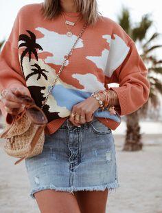 Denim Skirt, Cozy, Knitting, Blouse, Long Sleeve, Skirts, Sleeves, Women, Fashion