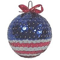 "Patriotic Ornament using sequins, 2 1/2"" styrofoam ball, and sequin pins."