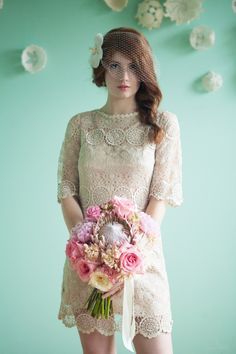 vintage lace bride // photo by Studio Finch, flowers by Ipomea Floral // View more: http://ruffledblog.com/crochet-and-aqua-inspiration/