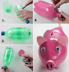 DIY Piggy Bank From Plastic Bottle diy craft crafts easy crafts diy ideas diy crafts fun crafts kids crafts how to tutorial crafts for kids Kids Crafts, Fun Diy Crafts, Projects For Kids, Diy For Kids, Craft Projects, Arts And Crafts, Craft Ideas, Summer Crafts, Recycling Projects