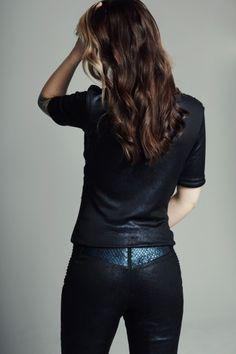 MAISON CYMA - La Généreuse // Adjusted metallic pants adorned by metallic fish leather yoke, // #fashion #readytowear #leather #ootd #designer #fallfashion #clothes #clothing #maisoncyma