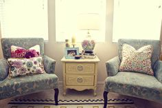 Blue chairs and yellow accent table #leeindustries, @gatehousestyle.com,
