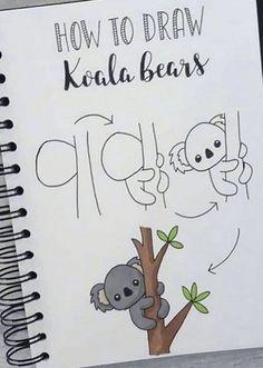 Doodle Zeichnungen dibujo paso a paso koala Doodle Art dibujo Doodle doodle art koala paso zeichnungen Cute Easy Drawings, Cool Art Drawings, Doodle Drawings, Cute Drawings Of Animals, Simple Doodles Drawings, Easy Animal Drawings, Bullet Journal Writing, Bullet Journal Ideas Pages, Bullet Journal Inspiration