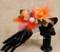 Prom Corsage  corsage coral orange   bling