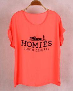 2016 Fashion Brand Women T-shirts with Printed Homies Women Bats Sleeve t shirts high quality Chiffon Tops Loose Tees