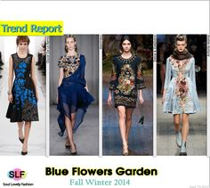 Blue Flowers Garden  #FashionTrend for Fall Winter 2014 #Floral #Prints #Trends #FW014 #Fall014