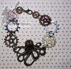 Bracelet steampunk rouages et pieuvre. 10€ Steampunk, Bracelets, Creations, Gucci, Shoulder Bag, Octopus, Art Crafts, Jewerly, Shoulder Bags