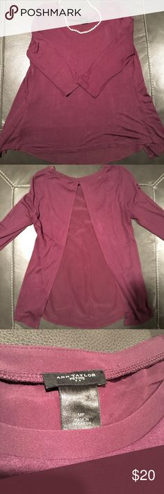 Ann Taylor 3/4 length sleeve top Beautiful plum Ann Taylor Petite 3/4 length sleeve top. Perfect Fall staple!  Back is pleated with a silky feel insert, bottom is flowy. Good condition. Ann Taylor Tops Tees - Long Sleeve