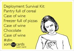 Deployment Survival Kit: Pantry full of cereal Case of wine Freezer full of pizzas Case of wine Chocolate Case of wine E-Card Me Quotes, Funny Quotes, Military Love, Military Spouse, Army Life, I Love To Laugh, E Cards, Someecards, Survival Kit