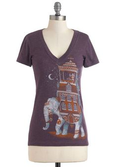 Trunk Show Treasure Tee - Purple, Red, White, Casual, Short Sleeves, Print with Animals, Mid-length, Jersey, Cotton, V Neck, Travel, Top Rated