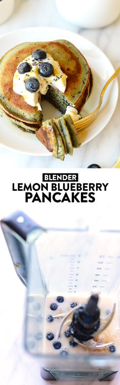 Breakfast is served in under 15 minutes with this delicious (and dairy-free) Blender Lemon Blueberry Pancake recipe!