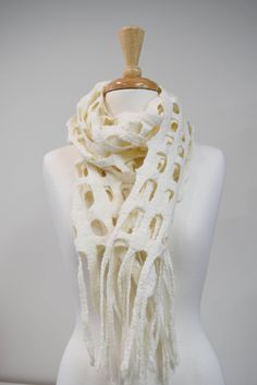 Wool Felt Scarf Womans Shawl Wrap Australian Merino Wool Felt Wrap Chunky Felted Scarf Hand Made Winter Scarf White