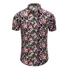 543204f9 Unique Bargains - Unique Bargains Men's Short Sleeve Button Front Floral  Print Cotton Hawaiian Shirt -