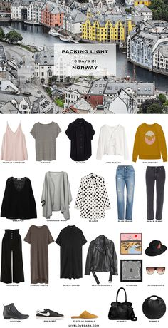What to Pack for Norway in the Summer - livelovesara - If you are wondering what to pack for Norway in the summer time for 10 days, you can see some ideas here. What to Pack for Norway Packing Light List Travel Wardrobe, Capsule Wardrobe, Travel Outfit Summer, Summer Outfits, Summer Packing Lists, Winter Packing, Winter Travel, Travel Capsule, Travel Packing