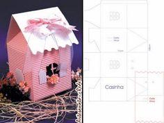 ARTE COM QUIANE - Paps,Moldes,E.V.A,Feltro,Costuras,Fofuchas 3D: molde casinha de papel microondulado 3D
