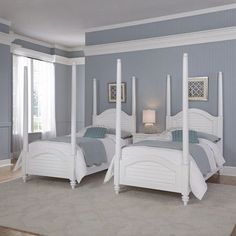 Beachcrest Home Harrison Twin Four Poster Bed Finish: Brushed White