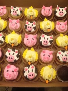 Barnyard cupcakes I made for a birthday party.