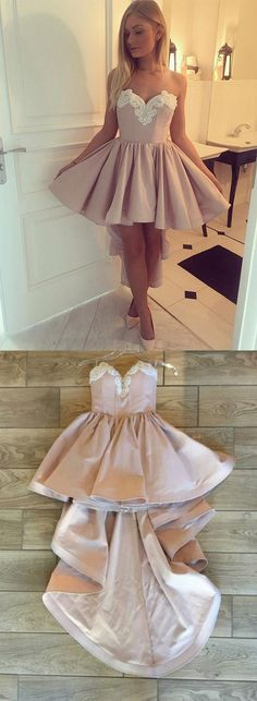 strapless high low homecoming dress, 2017 pink homecoming dress, short homecoming dress, strapless high low pink cocktail dress