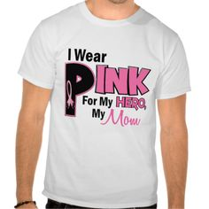 Support your mom battling breast cancer and promote breast cancer awareness with 'I Wear Pink For My Hero, My Mom' breast cancer support t-shirts, sweatshirts, gifts, and apparel featuring bold text, an oversized 'P', and cool pink breast cancer support ribbon. Perfect way to Support your Mom during Breast Cancer Awareness Month, Breast Cancer Awareness Walks, or ANY time in between! LIKE THIS? BE SURE TO VISIT Awareness Gift Boutique's Zazzle Gallery