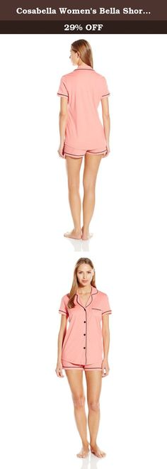 Cosabella Women's Bella Short Sleeve Boxer Pajama Set, Pink, Medium. Sophisticated, feminine interpretation of classic men's pajama styles. Made in super soft pima cotton and modal, this group is finished with classic touches of satin binding.