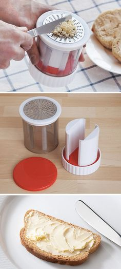 Easily spread cold butter on bread, muffins, anything. With a few turns of the wrist, the Butter Mill grates cold butter into thin ribbons that soften almost instantly and spread effortlessly.