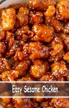 Easy Sesame Chicken - My list of the most healthy food recipes Sesame Chicken Sauce, Crispy Honey Chicken, Easy Sesame Chicken, Sauce For Chicken, Easy Chicken Recipes, Asian Recipes, Crockpot Recipes, Cooking Recipes, Healthy Recipes