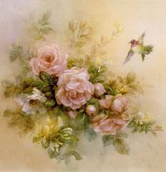 Lena Liu prints and canvas at the Lena Liu Gallery of signed numbered watercolor floral art painting Vintage Rosen, Art Vintage, Decoupage Vintage, Vintage Cards, Vintage Pictures, Vintage Images, Decoupage Printables, Illustration Blume, Rose Art