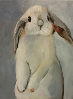 Norma Wilson Original Oil Lop Eared Bunny Rabbit Animal Painting Art, painting by artist Norma Wilson