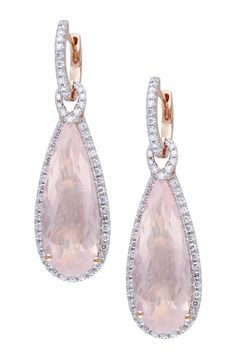 Gifts from the Heart  14K Rose Gold Rose Quartz & Diamond Trimmed Huggie Earrings  $2,084.00