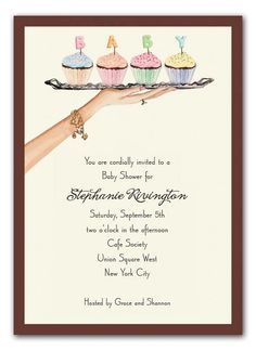 Baby Cupcakes Invitations by Bonnie Marcus & Co. Cupcake Invitations, Invitation Fonts, Baby Shower Invitations, Invitation Ideas, Invites, Baby Shower Sweets, Baby Shower Cupcakes, Baby Shower Themes, Shower Ideas