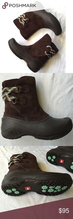 North Face Boots NEW New in box North Face shellista II pull-on brown boots.  Provides the all-around coverage needed in cold weather. A seam-sealed waterproof construction and a lightweight, protective shell offer protection from the elements. Size women's 6. The North Face Shoes Winter & Rain Boots
