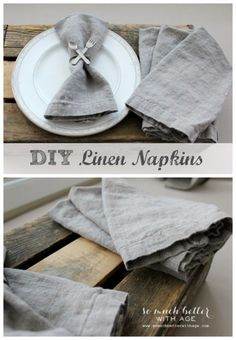 Sew A Gift - Making your own linen napkins has never been easier. These napkins also double as placemats! With sewing only a few straight lines, you can have the prettiest napkins as well as placemats! Linen Napkins, Cloth Napkins, Folding Napkins, Sewing Hacks, Sewing Tutorials, Fabric Crafts, Sewing Crafts, Do It Yourself Inspiration, Textiles