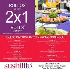 Ya es lunes y hay 2x1 en rollos en #Sushiitto Quinta Alegría  @PlayacarMgz @PdelCarmenTV @FoodiesPlaya @_MiConcierge