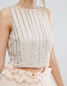 Lace & Beads Crop Top in Stripe Embellishment Stylish Blouse Design, Fancy Blouse Designs, Blouse Neck Designs, Moda Do Momento, Trendy Outfits, Fashion Outfits, Indian Designer Outfits, Everyday Outfits, Ideias Fashion