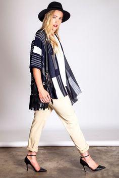 Plus Size Midnight Navy Graphic Knit Kimono Cardigan