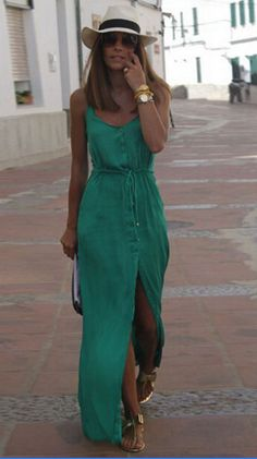 Spaghetti Strap V-neck Pure Color Split Long Dress