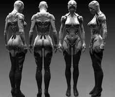 Cyber girl by Petr Morozoff on ArtStation. 3d Character, Character Design, Female Cyborg, Digital Sculpting, Mekka, 3d Figures, Robot Girl, Ex Machina, Sci Fi Characters