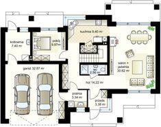 m² Wysokość m Kąt nachylenia Dream House Plans, Modern House Plans, House Floor Plans, Verona, House Design Drawing, Small Modern Home, House Entrance, Ground Floor, Planer